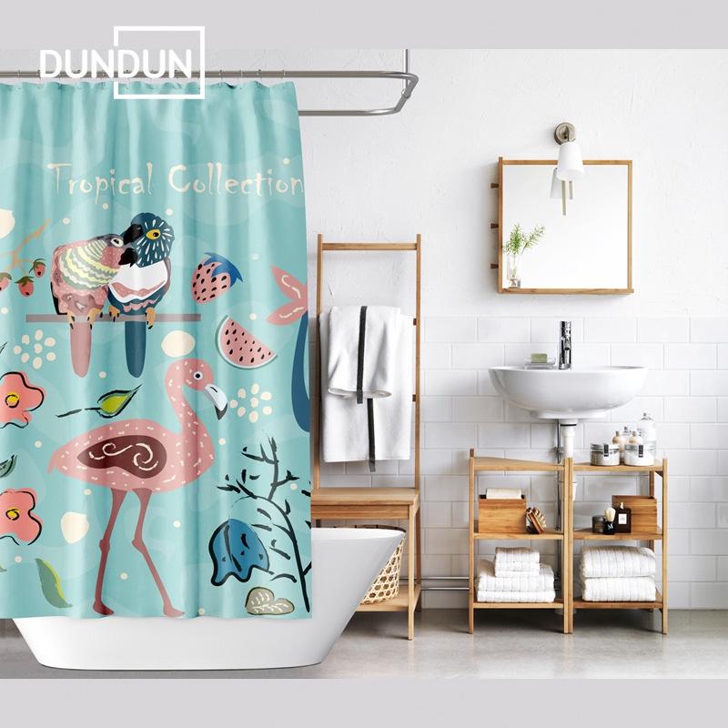 【DUNDUN】Ins Flamingo พิมพ์ม่านอาบน้ำโพลีเอสเตอร์กันน้ำตกแต่งห้องน้ำ