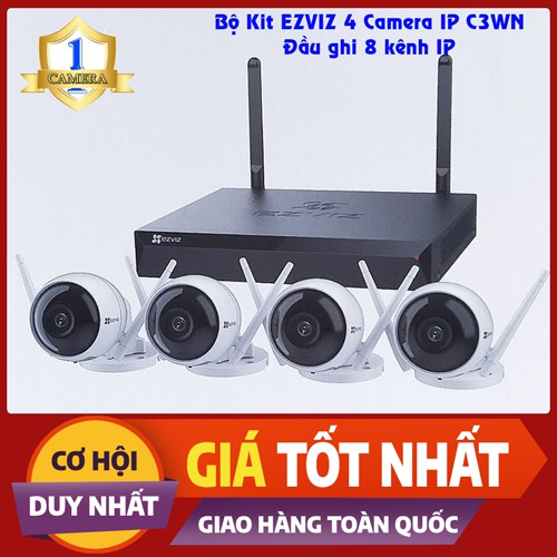Bộ Kit Camera IP EZVIZ CS-C3WN 2MP 4 Camera, đầu ghi CS-X5S-8W  8 kênh/ CS-X5S-4W  4 kênh - Kèm HDD WD