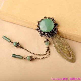 Ancient metal bookmark China Dongling jade gift student stationery agate tassel