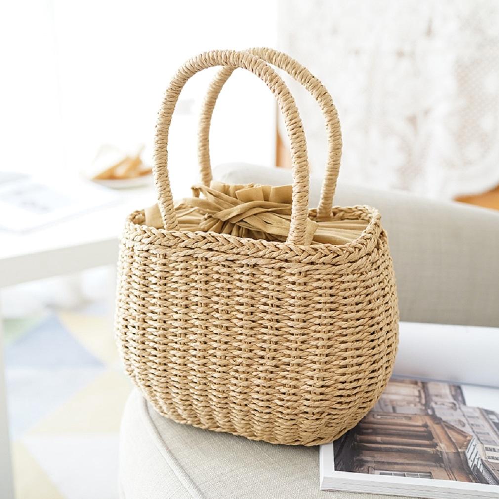 Túi cói xách tay kiểu dáng đơn giản thanh lịch dành cho