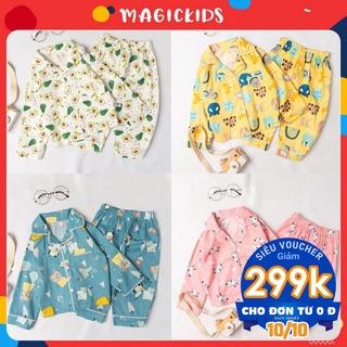 Bộ ngủ dài tay pijama cotton cho bé Magickids quần áo trẻ em thoáng mát thấm hút mồ hôi BR20017