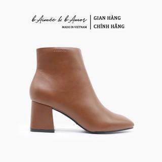 Boot nữ Cao Gót bAimée & bAmor Cổ Thấp Mũi Vuông Gót Vuông Cao 5cm Giày Bốt Đẹp Da Mềm Cao Cấp Màu Đen Kem Nâu - MS1616