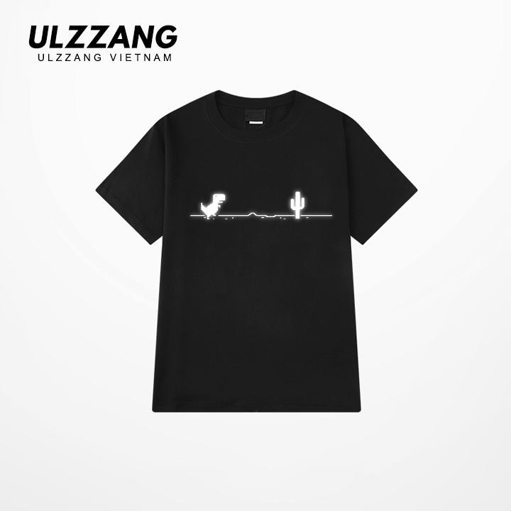 Áo thun tay lỡ ULZZANG 100% cotton dáng unisex form rộng in hình khủng long disconect