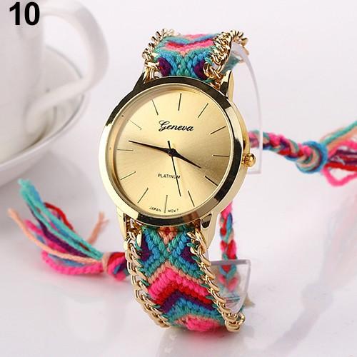 Đồng hồ Geneva dây cotton đan thời trang cho nữ