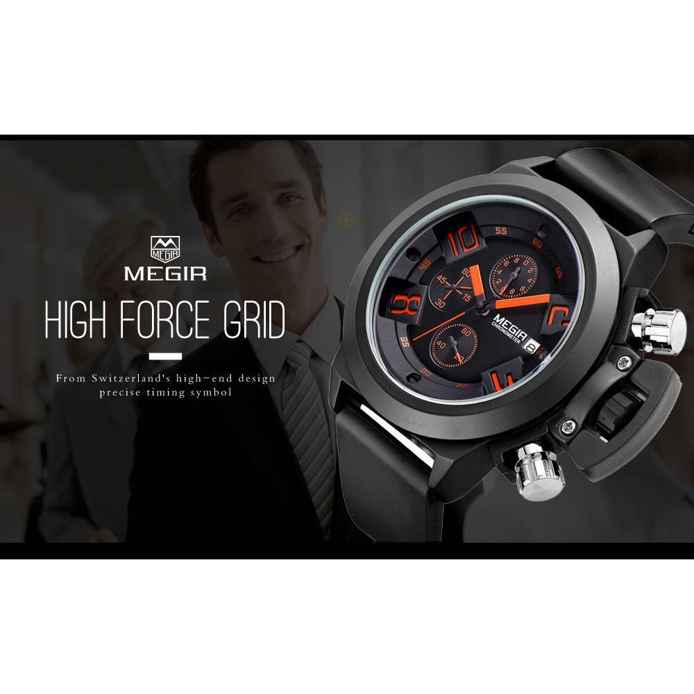 Đồng hồ đeo tay mặt chạm khắc 3D dây silicone đen chống nước dành cho nam MEGIR