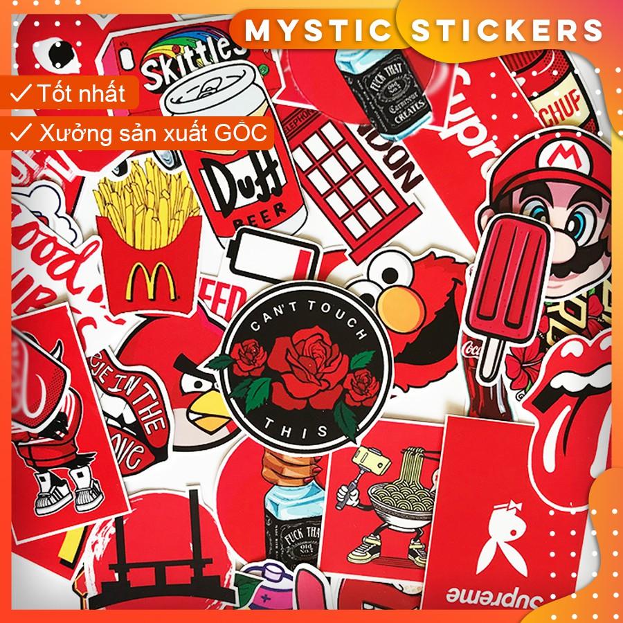 [ĐỎ RED] 36 Sticker chống nước/ Hình dán/ Decal trang trí ,dán xe laptop mũ bảo hiểm vali...