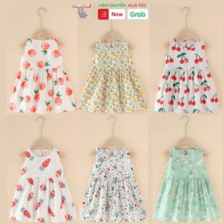 Đầm váy bé gái mùa hè chất liệu Kate in hình đáng yêu dễ thương phong cách Hàn Quốc
