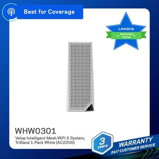 Bộ phát Wifi Linksys Velop WHW0301 Mesh 3 băng tần 1-Pack AC2200Mbps (Hàng chính Hãng)