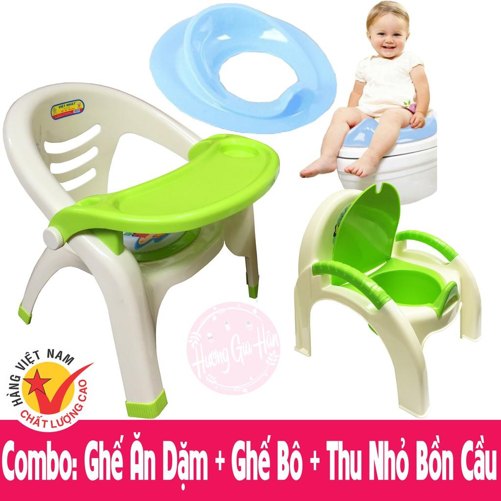 Combo 3 món Ghế ăn dặm, Ghế Bô, Thu nhỏ bồn cầu - Hàng Việt Nam chất lượng cao