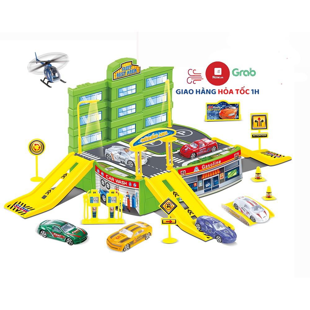 Bộ đồ chơi cho bé bãi đỗ xe ô tô, máy bay kèm chi tiết mô tả đường phố khác
