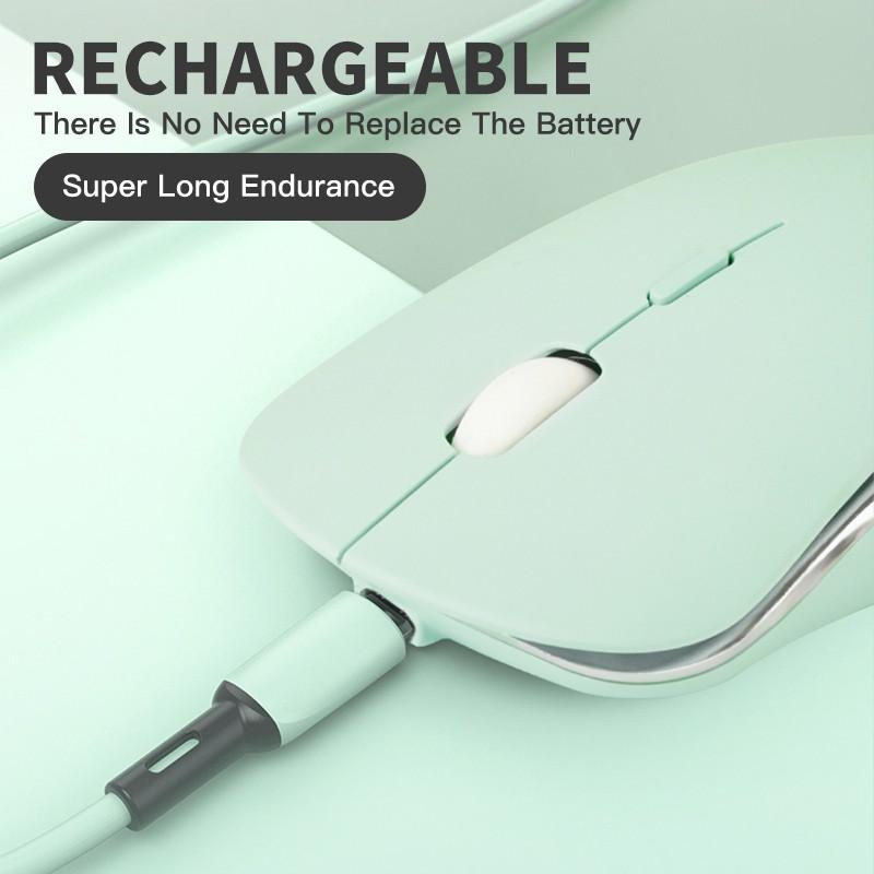 Aivk Chuột Không Dây Thời trang im lặng Chuột quang sạc lại tiết kiệm năng lượng với đầu thu Nano 2.4G