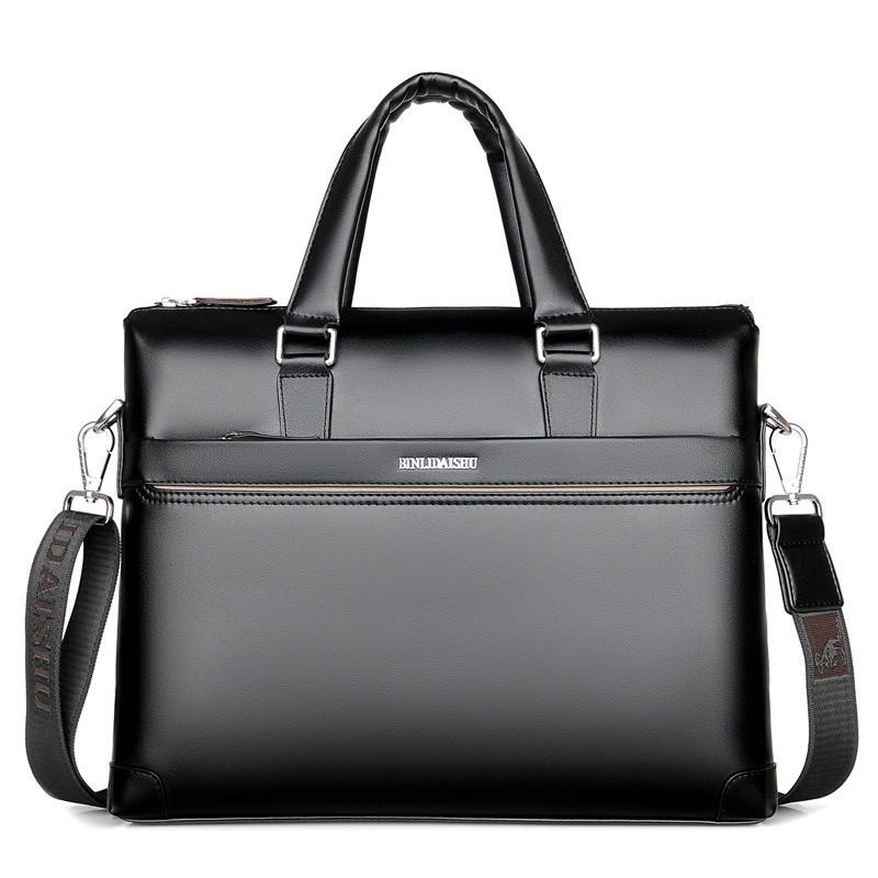 Túi xách cặp da đựng laptop da bò công sở T03 - KT: 38x28x6cm (Nâu-Đen)
