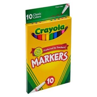 Bút lông Crayola 10 màu loại nét mảnh (Fine Line)