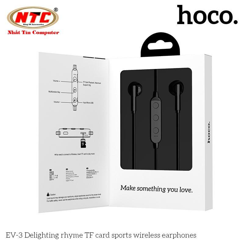 Tai nghe bluetooth nhét tai Hoco EV-3 V5.0 Hỗ trợ khe gắn thẻ nhớ - Hãng phân phối chính thức