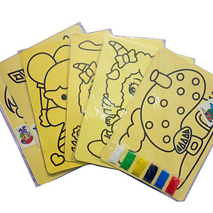 Set 10 tranh cát cho Trẻ - Tranh Cát Mini Cho Bé Tập Tô Màu, Có Sẵn Cát, Màu Tươi Sáng, Không Phai Màu