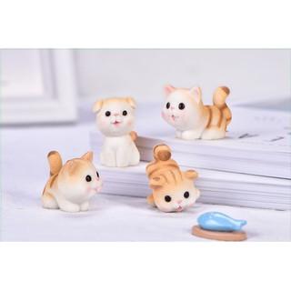 Mô hình mèo vàng và mèo xám xinh xắn trang trí tiểu cảnh, terrarium, DIY