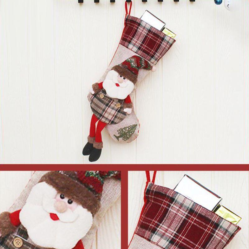 Christmas Santa Snowman Plaid Socks Stockings Candy Gift Bag