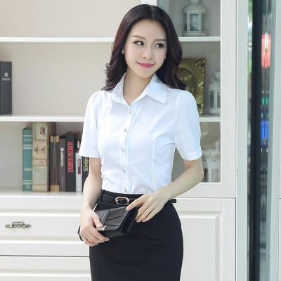 Áo sơ mi nữ màu trắng ngắn tay cao cấp form nhỏ vải kate ý đẹp ít nhăn giãn nhẹ ĐƯỢC ĐỔI TRẢ THOẢI MÁI MÃ SM