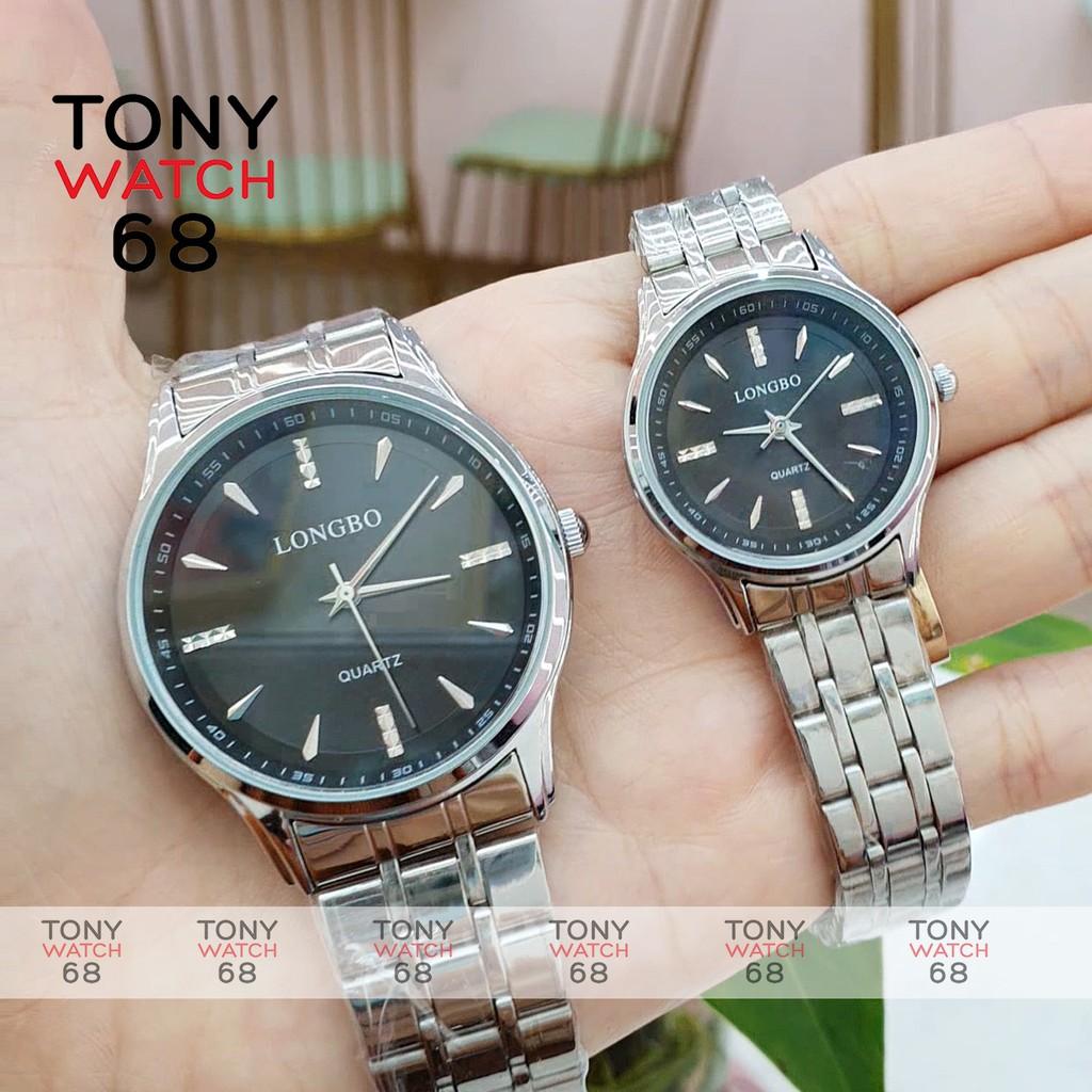 Đồng hồ cặp đôi Longbo nam nữ dây bạc mặt đen cổ điển dây kim loại chống nước chính hãng