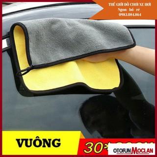 (khăn lau ô tô chuyên dụng) Khăn lau xe lông cao 2 mặt vàng xám 30 30cm thumbnail