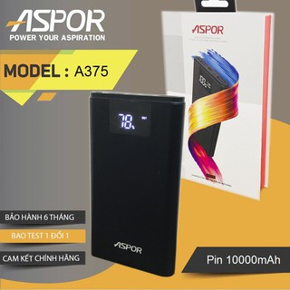 Sạc dự phòng, chính hãng ASPOR dung lượng 10000mAh- Pin sạc dự phòng chuẩn aspor hơn nhiều xiaomi