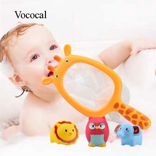 4 PCS Cute Cartoon Children Kids Animal Bath Bathtub Fishing Floating Game Toy + Catching Net Set V706 Vococal