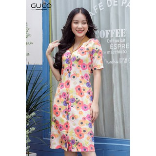 GUCO - Đầm nữ dáng suông công sở họa tiết hoa 2160 thumbnail