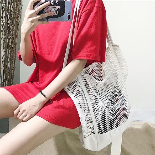 Túi xách tay vải canvas phối lưới thích hợp đi biển