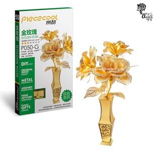 Piececool _ Mô hình lắp ráp 3D kim loại _ Bình hoa hồng_Golden Rose