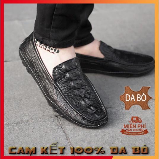 giày mọi nam da thật⚡FRESHIP⚡giày lười in vân cá sấu,thiết kế sang trọng đẳng cấp, bảo hành 12 tháng