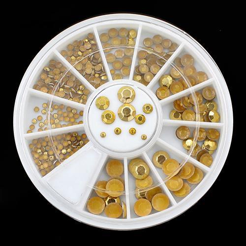 Nlkg♥Nail Art Decoration DIY 3D Acrylic Glitter Golden Rhinestone Wheel Decor Tool