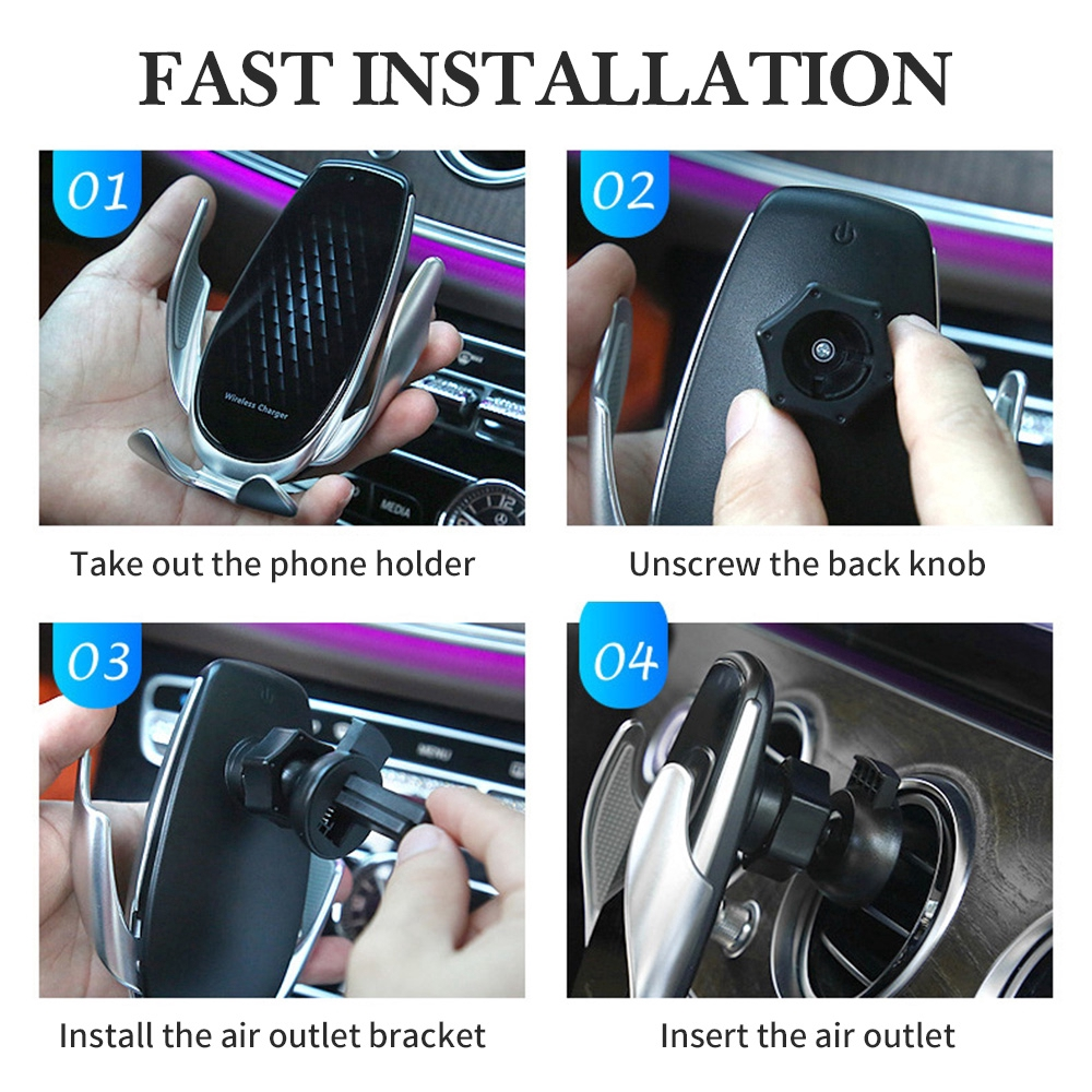 Qi Wireless Car Charger Auto Clamp 15W Fast Charging Holder For iPhone Android Phone Mount