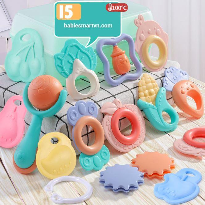 [Gặm NƯỚU] 15 chi tiết Bộ Dụng Cụ Đồ Chơi- treo nôi – Hình Các Loại Quả Củ Cho Trẻ từ 01 tháng tuổi- cao su mềm an toàn