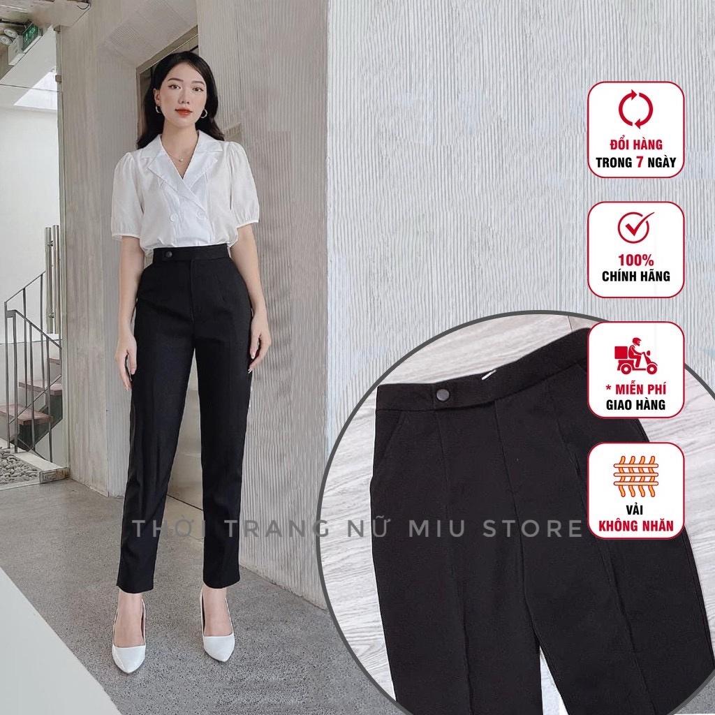 Quần baggy cúc lệch ống suông KH02, quần tây khuy lệch lưng cao kiểu dáng công sở màu đen cho nữ