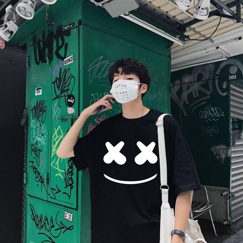 FREESHIP Áo thun tay lỡ unisex nam nữ form rộng Mặt Cười Hàn Quốc Siêu Đẹp Màu Đen - áo phông 360 basic tee mùa hè