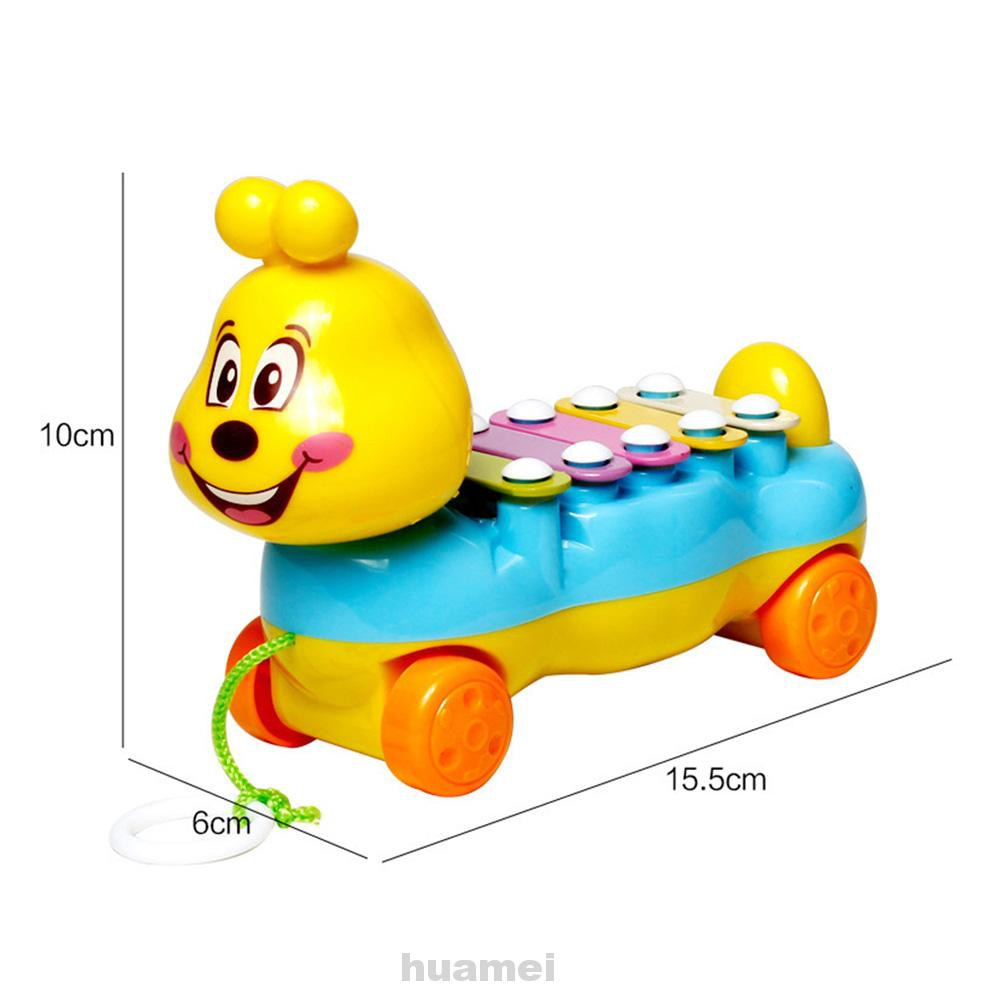 Kids Colorful Animal Pattern Hand Buggy Xylophone Music Instruments Toy Piano Lite Baby Educational Toys