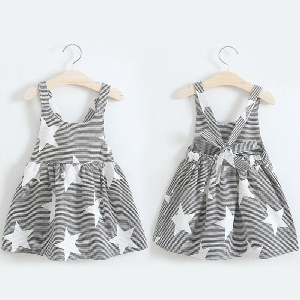 Toddler Kids Girls Baby Summer Dress Striped Star Dresses Clothes 4TH OF JULY