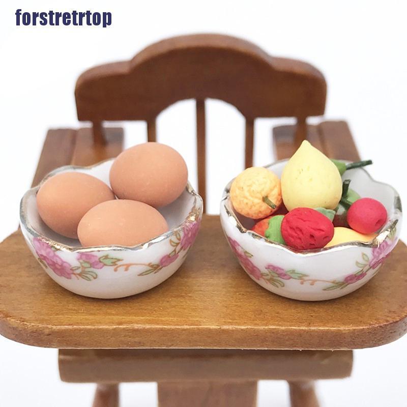 【FSTTTOP】1:12 Miniature Furniture Vintage Dessert plate DIY Miniatures For Dol