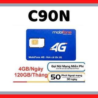 Sim 4G Mobifone C90N 4G/Ngày -90k/Tháng – miễn phí 1 tháng – 120GB DATA TỐC ĐỘ CAO – MIỄN PHÍ GỌI + QUÀ TẶNG HẤP DẪN