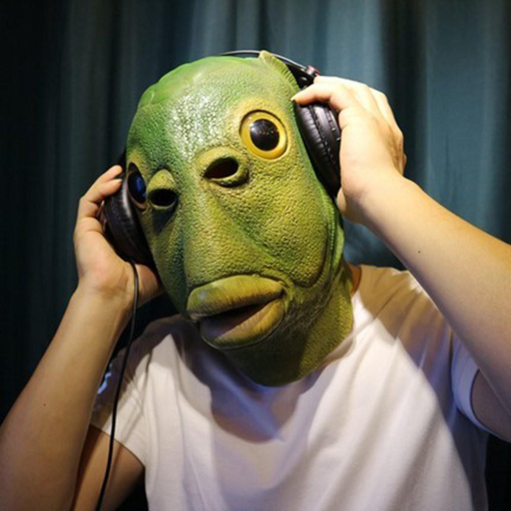 (Hàng Mới Về) Mặt nạ trùm đầu hóa trang quái vật đầu cá màu xanh lá phù hợp cho Halloween