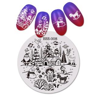 Khuôn hình tròn chủ đề Giáng Sinh dùng trang trí móng tay chuyên nghiệp 1