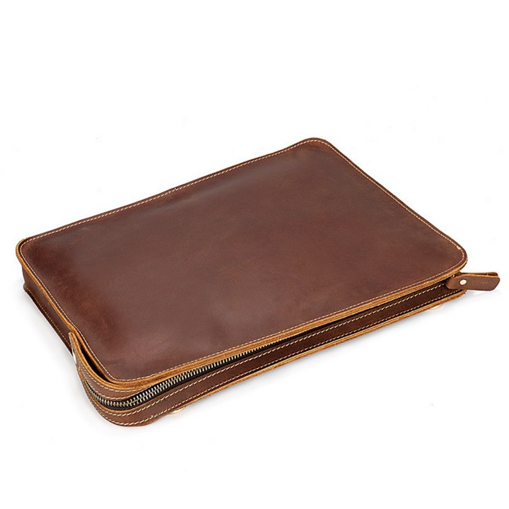 Túi da bò thật ELEGANT DEMEANOR thủ công iPad, Macbook - Home and Garden