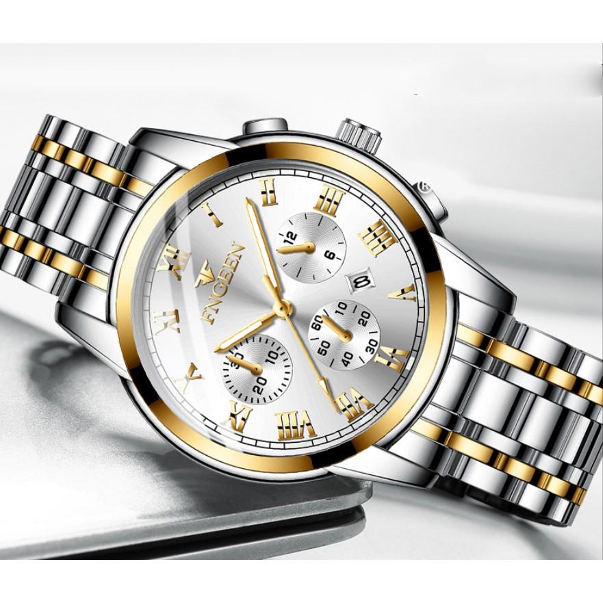 Đồng hồ thời trang nam Fngee FN14 dây thép bền màu chống nước tốt, xem được ngày, tặng tỳ hưu, tháo mắc
