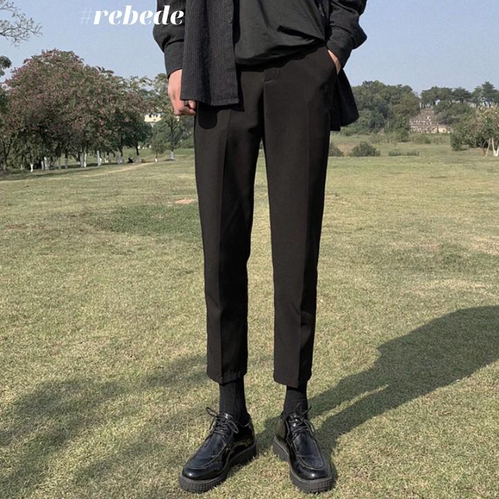 Quần baggy nam ống rộng vải co giãn cao cấp phong cách Hàn Quốc
