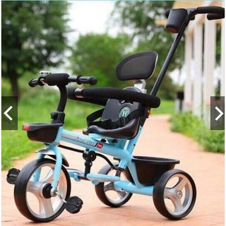 [Trợ giá] Xe đạp đẩy 3 bánh kiểu mới có bảo hiểm, để chân, cán đầy, tựa lưng, giỏ đồ thumbnail