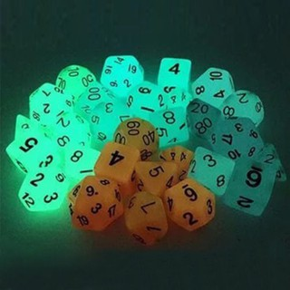 Set of 7 multi-faceted light-emitting dice