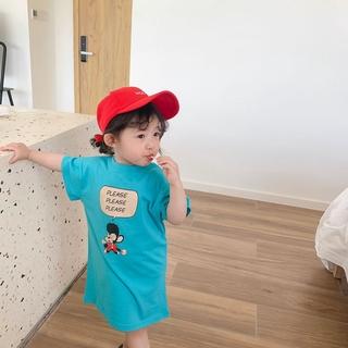 Váy thun tay ngắn in hình dễ thương dành cho bé gái