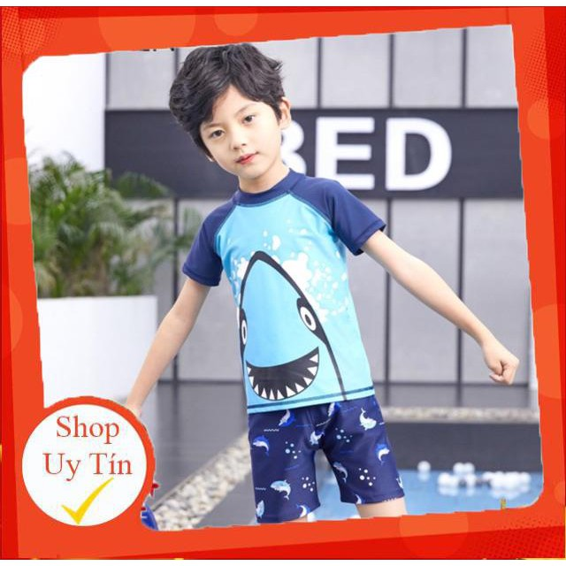 ⛔ Bộ quần áo bơi kèm mũ dành cho bé trai xuất Nhật hoạ tiết cá mập