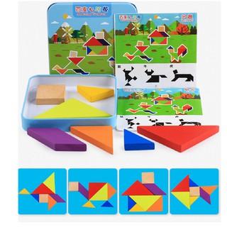 Hộp khối gỗ tạo hình JX07 Đồ chơi lắp ráp ghép hình trí tuệ