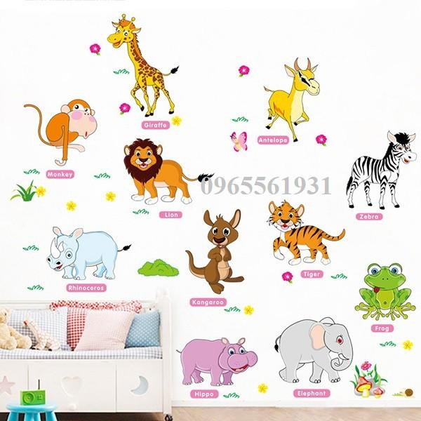Decal dán tường vườn thú tiếng anh mới - 3128274 , 1048051002 , 322_1048051002 , 38000 , Decal-dan-tuong-vuon-thu-tieng-anh-moi-322_1048051002 , shopee.vn , Decal dán tường vườn thú tiếng anh mới